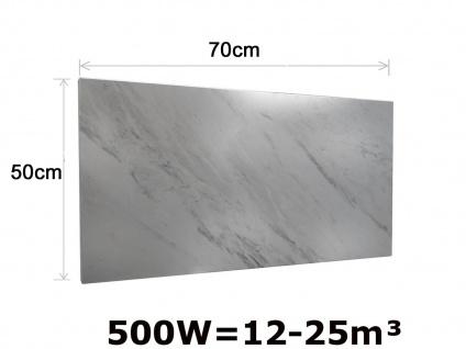 500W Infrarotheizung Marmor weiß, 70x50cm, Räume 12-25m³, IP44