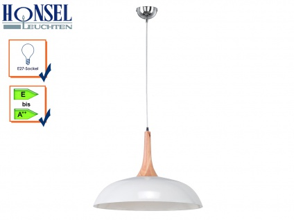 Pendelleuchte Hängeleuchte Lampe Holz natur Metall weiß Hood Ø 50 cm