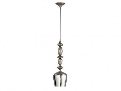 Design Pendelleuchte mit Lampenschirm transparent chrom 18cm, Esstischlampe