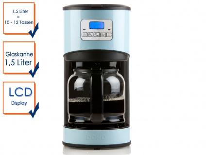 Kaffeemaschine Blau 1, 5l 950W Timer Edelstahl LCD-Display Filterkaffeemaschine