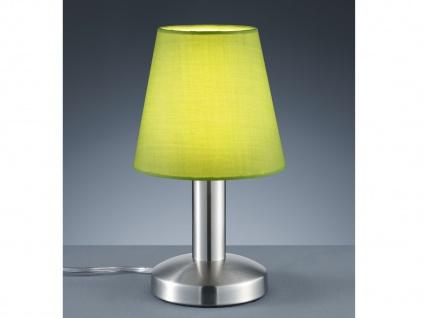 Kleine Tischlampe Stoffschirm Textil grün mit Dimmer Touchfunktion & 5 Watt LED