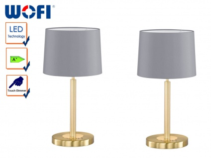 2er Set Wofi LED Tischlampe TOULOUSE, Dimmer, Stoffschirm grau, Nachttischlampe