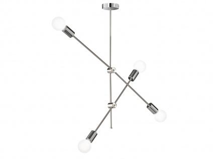 Retro Desing Pendelleuchte 4x LED Arm schwenkbar Nickel matt/Chro fürs Esszimmer