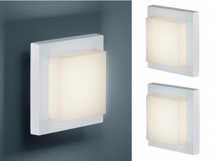 Eckige LED Außenwandlampe in Weiß 2 Außenleuchten für Hauswand Außenbeleuchtung
