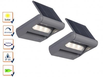 2er Set LED Außenwandleuchte Solar dimmbar & drehbar IP44 Solarlampe Garten - Vorschau 2