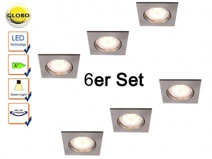 6 Stk. Globo Einbauleuchten eckig, Einbaustrahler beweglich, Spots mit GU10 LED