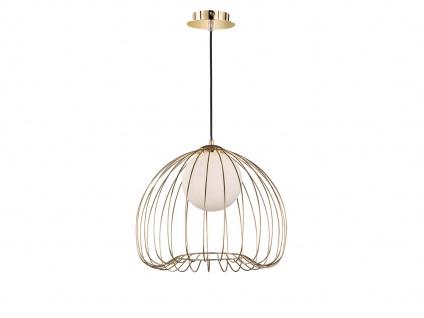 Retro Hängeleuchte Korblampe Metall goldfarben 38cm, Glaskugel weiß, 70er Stil