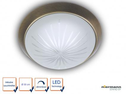 LED Deckenleuchte Schliffglas satiniert Altmessing Ø30cm LED Treppenhausleuchte - Vorschau 1