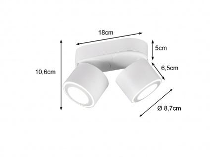 LED Deckenstrahler 2-flammig Weiß schwenkbare Deckenlampen für Flur und Diele - Vorschau 3