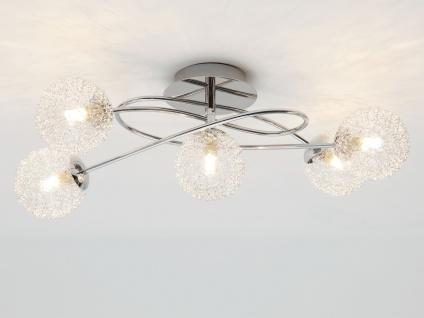LED Deckenleuchte dimmbar 5 flammig mit Alu Drahtgeflecht Silber Chrom 55x35cm