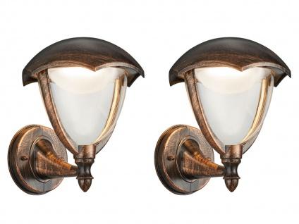 LED Außenwandlampe 2er Set Außenlaterne Rostoptik Terrassenbeleuchtung Landhaus