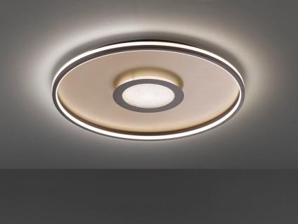 Flache LED Deckenleuchte BUG rund Ø59cm mit Fernbedienung, Gold matt & Rostoptik