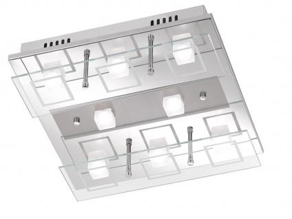 LED Deckenlampe 34x34 cm, Chrom poliert / Glas, Wofi-Leuchten