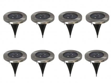 8er-Set LED Solarstrahler, Edelstahl Dämmerungssensor Erdspieß IP44