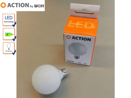 LED Leuchtmittel E27 Kugel, 9 Watt / 840 Lumen Warmweiß, Energieeffizienz A+