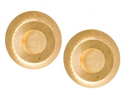 2x Design LED Wandleuchte 10 Watt Goldfarben Ø 24 cm - elegante Wohnraumleuchten