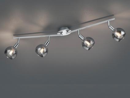 Schwenkbarer LED Deckenstrahler 4 flammige Deckenleuchte Chrom/Rauchglas 85cm