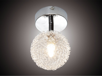 LED Deckenleuchte dimmbar Wandspot 1flammig Alu Drahtgeflecht Silber Chrom Ø10cm