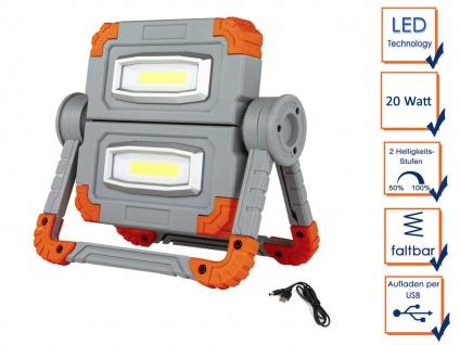 Klappbarer COB LED Baustrahler 2x 10 Watt mit Akku Powerbank & USB Ladekabel
