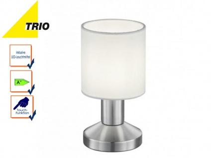 Trio Tischlampe GARDA mit LED, Schirm Textil weiß, Tischleuchte Nachttischlampe