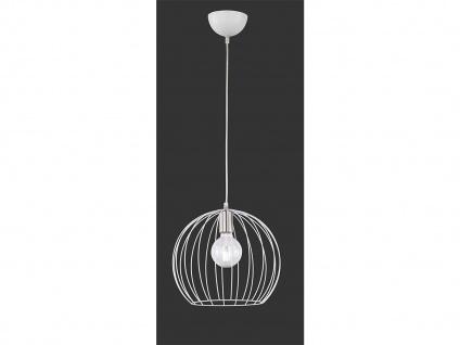 Runde LED Pendelleuchte weiß mit Gitterschirm Lampe dimmbar für Esszimmertisch