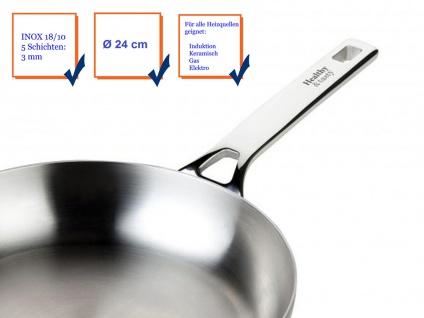 Hochwertige Edelstahlpfanne 18/10 für alle Herdarten + Backofen geeignet Ø 24cm - Vorschau 4