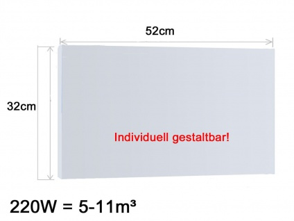 Vitalheizung Infrarotheizung Heizpaneel 220W, 52x32 cm, Hochglanz weiß, IP44