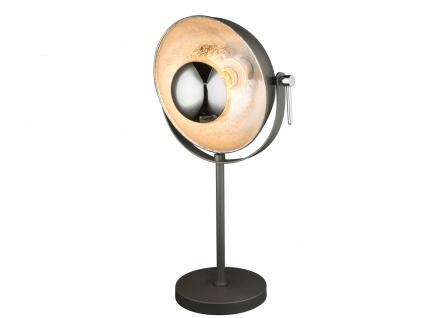 Globo Retro LED Tischlampe schwarz silber, Reflektor schwenkbar, Tischleuchte