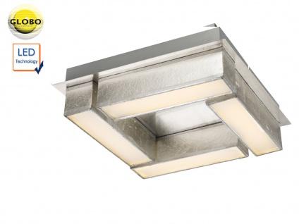 LED Deckenleuchte PACO 30x30cm Textil silber metallic, Deckenlampe Wohnraum Flur