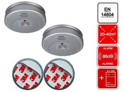 2er-Set Rauchmelder Aluminiumoptik inkl. 2 x Magnethalter 85dB Alarm