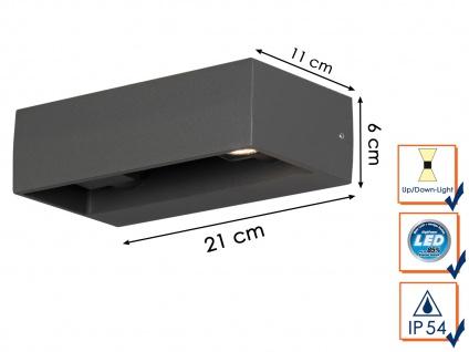 Eckige LED Außenleuchte Anthrazit Up & Down wählbar Hauswand Fassadenbeleuchtung - Vorschau 4