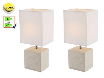 2x Globo Tischleuchte Keramik beige Stoff weiß, Tischlampe klassisch Wohnraum