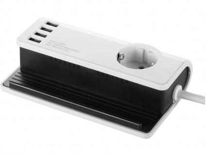 4-fach USB Tischladestation mit Steckdose für Smartphone / Tablet Dockingstation - Vorschau 2