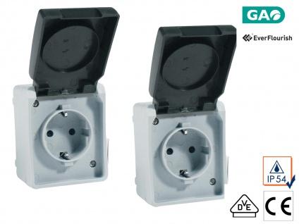 2er-Set Schutzkontakt-Steckdosen mit Deckel & erhöhtem Berührungsschutz, 2-Polig
