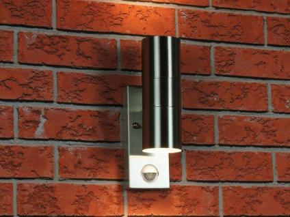 Edelstahl Außenwandleuchte mit Bewegungsmelder - Fassadenbeleuchtung Hauswand