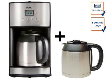 Edelstahl Kaffemaschine mit Timer und Zusatz-Thermoskannen je 1, 2 Liter 1000W