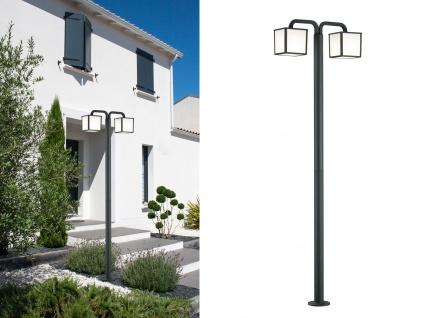 LED Außenwegeleuchte Anthrazit Laterne eckig 2 Outdoor Stehlampen für den Garten
