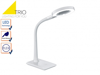 LED Schreibtischlampe LUPO weiß mit Lupe, Tischleuchte mit 3-fach Touchdimmer