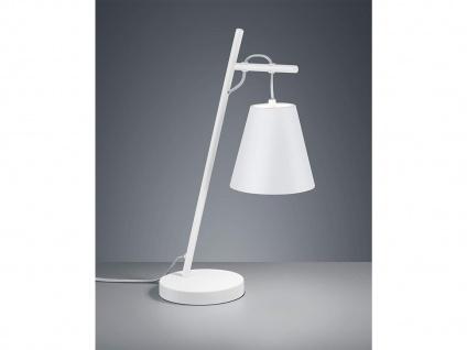 Ausgefallene Tischlampe mit STOFF Schirm höhenverstellbar in weiß/silber, 50cm
