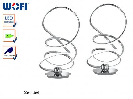 2er Set Design LED Tischlampe SOLLER, Chrom, Touchdimmer, H. 43cm, Tischleuchten