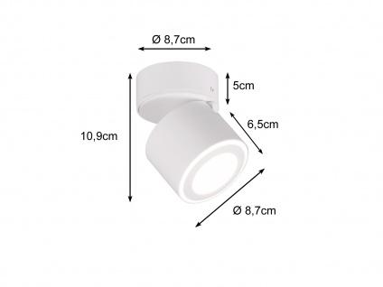 Kleiner LED Deckenstrahler Weiß rund schwenkbare Deckenlampen für Flur und Diele - Vorschau 3