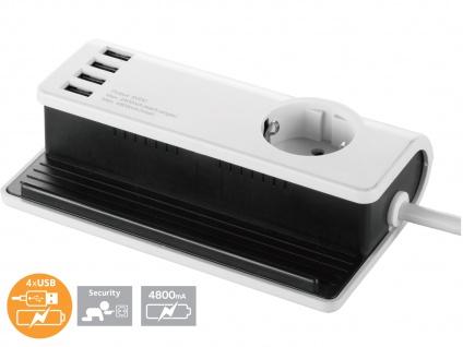 4-fach USB Tischladestation mit Steckdose für Smartphone / Tablet Dockingstation - Vorschau 1