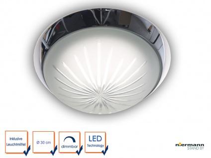 LED-Deckenleuchte Glas Schliffglas satiniert Chrom Ø30cm Landhausleuchte dimmbar