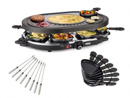 Raclette mit Gabeln für 8 Personen mit Crêpefläche Elektro Tischgrill Raklett