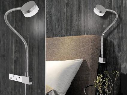 Moderne LED Leseleuchte Bettleuchte Flex, Möbelleuchte mit Schalter, Leselampe
