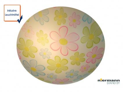 LED Deckenschale rund Ø 45cm fröhliches Blumen Motiv Deckenleuchte Kinderzimmer