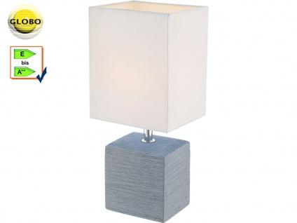 Globo Tischleuchte GERI Keramik grau, Stoff weiß, Tischlampe klassisch Wohnraum