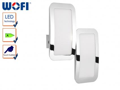 2-flammige LED Wandleuchte Weiß / Chrom, Touchschalter, Wandlampe Wohnzimmer