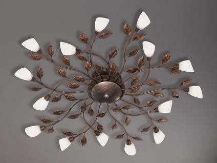 Runde große Florentiner LED Deckenleuchte 80cm mit Blättern Rost für Wohnzimmer