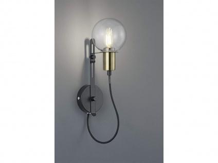 Moderne höhenverstellbare 1fl. Wandleuchte in schwarz matt/bronze, 38, 5cm Ø 12cm